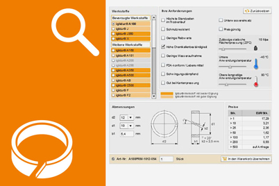 Product finder for piston rings